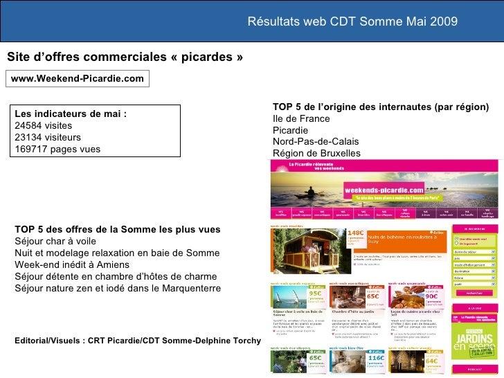 Résultats web CDT Somme Mai 2009 TOP 5 des offres de la Somme les plus vues Séjour char à voile Nuit et modelage relaxatio...