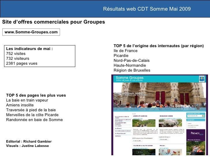 Résultats web CDT Somme Mai 2009 Site d'offres commerciales pour Groupes Les indicateurs de mai :  752 visites 732 visiteu...