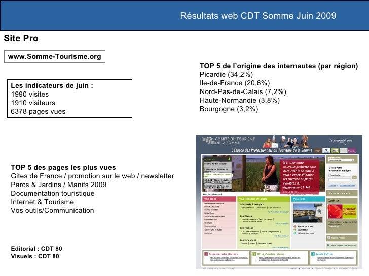 Résultats web CDT Somme Juin 2009  Site Pro www.Somme-Tourisme.org                                                        ...