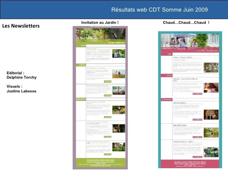 Résultats web CDT Somme Juin 2009                     Invitation au Jardin !            Chaud…Chaud…Chaud ! Les Newsletter...