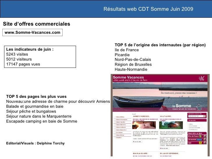 Résultats web CDT Somme Juin 2009  Site d'offres commerciales www.Somme-Vacances.com                                      ...