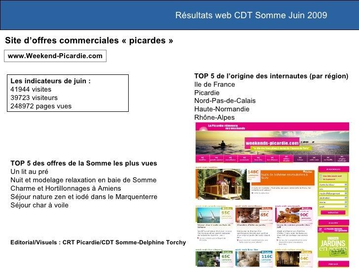 Résultats web CDT Somme Juin 2009  Site d'offres commerciales « picardes » www.Weekend-Picardie.com                       ...