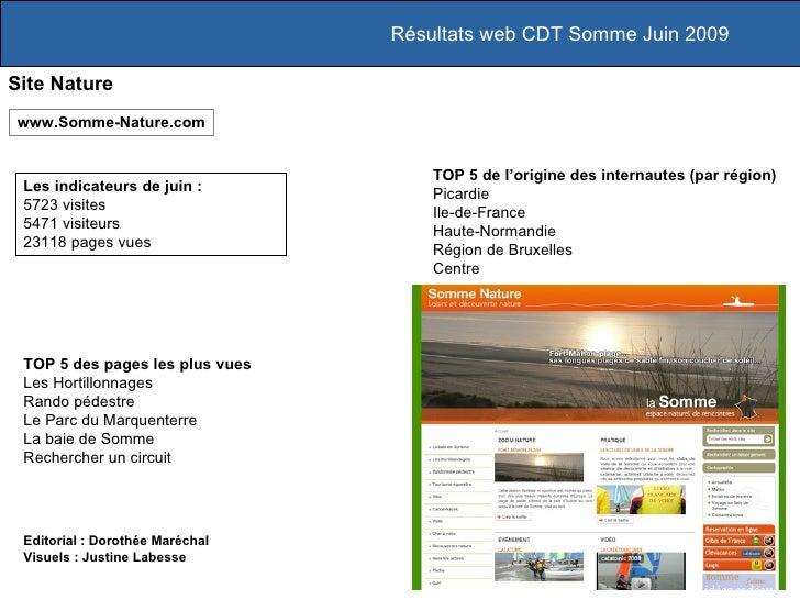 Résultats web CDT Somme Juin 2009  Site Nature www.Somme-Nature.com                                        TOP 5 de l'orig...