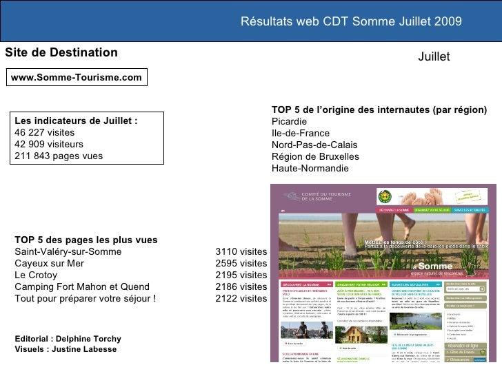 Résultats web CDT Somme Juillet 2009 Site de Destination www.Somme-Tourisme.com TOP 5 des pages les plus vues Saint-Valéry...