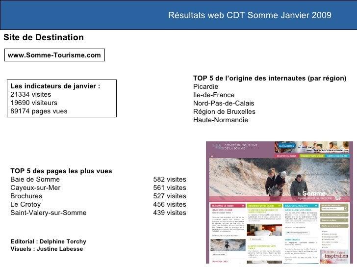 Résultats web CDT Somme Janvier 2009 Site de Destination www.Somme-Tourisme.com TOP 5 des pages les plus vues Baie de Somm...