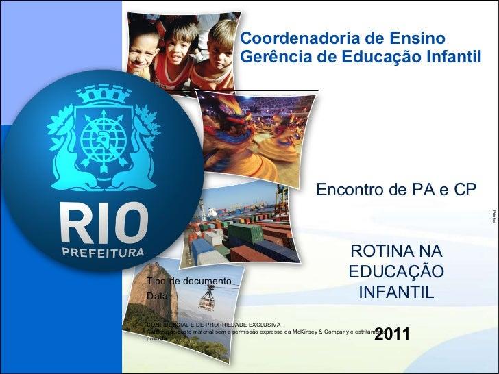 Coordenadoria de Ensino Gerência de Educação Infantil 2011 Encontro de PA e CP ROTINA NA EDUCAÇÃO INFANTIL
