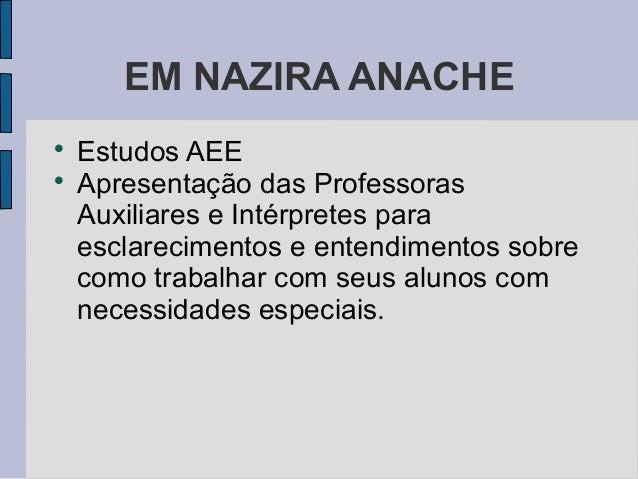 EM NAZIRA ANACHE  Estudos AEE  Apresentação das Professoras Auxiliares e Intérpretes para esclarecimentos e entendimento...