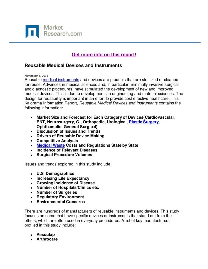 Get more info on this report!Reusable Medical Devices and InstrumentsNovember 1, 2008Reusable medical instruments and devi...