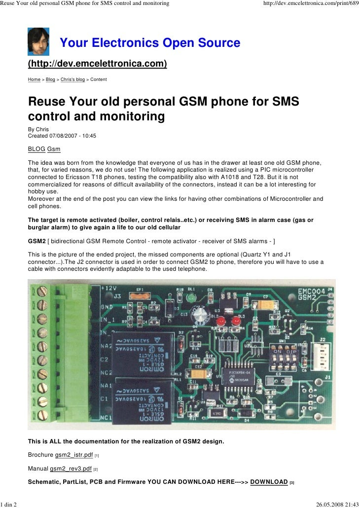 Reuse Your old personal GSM phone for SMS control and monitoring                                  http://dev.emcelettronic...