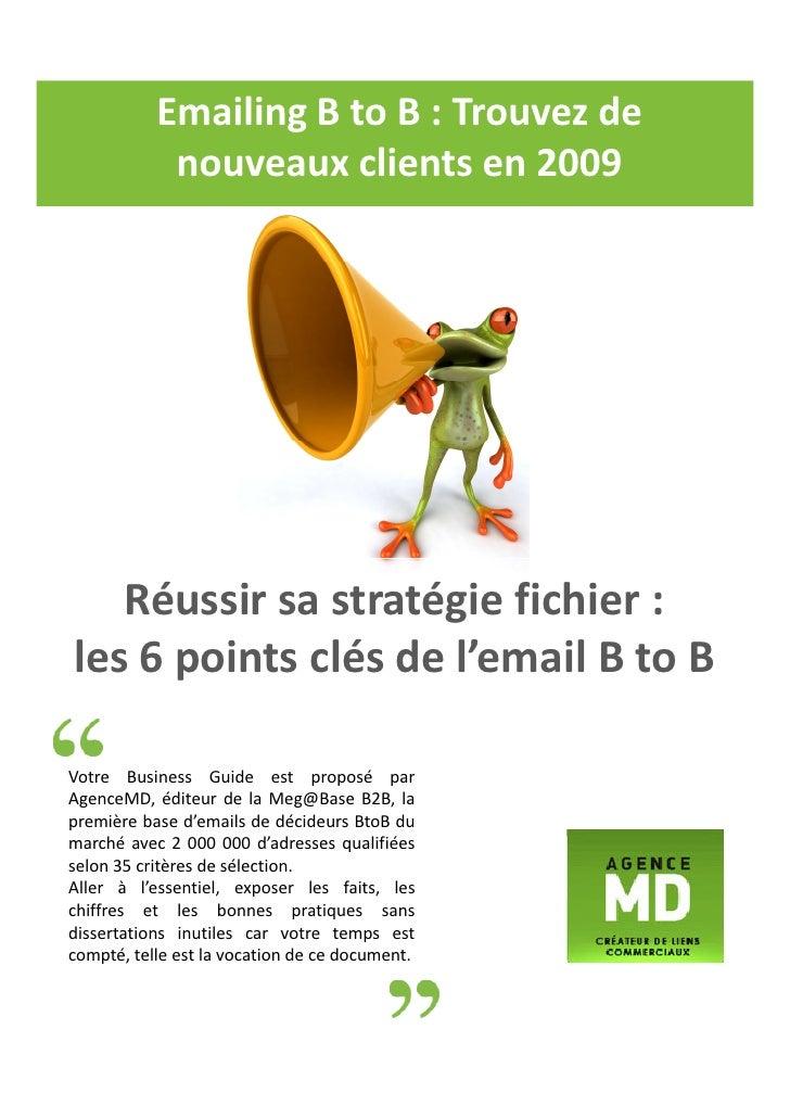 Emailing B to B : Trouvez de             nouveaux clients en 2009        Réussir sa stratégie fichier : les 6 points clés ...
