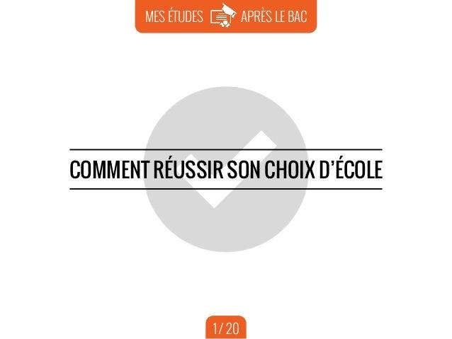 1 APRÈS LE BACMES ÉTUDES COMMENT RÉUSSIR SON CHOIX D'ÉCOLE 1 / 20