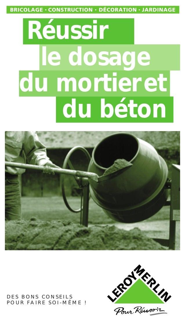 reussir le dosage du mortier et du beton