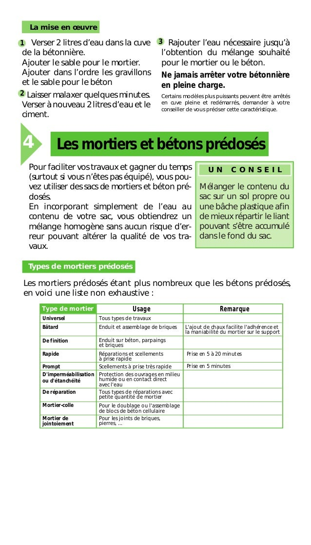 Reussir le dosage du mortier et du beton for Parpaing ciment
