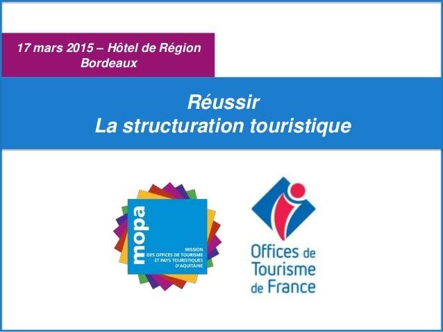 17 mars 2015 – Hôtel de Région Bordeaux Réussir La structuration touristique