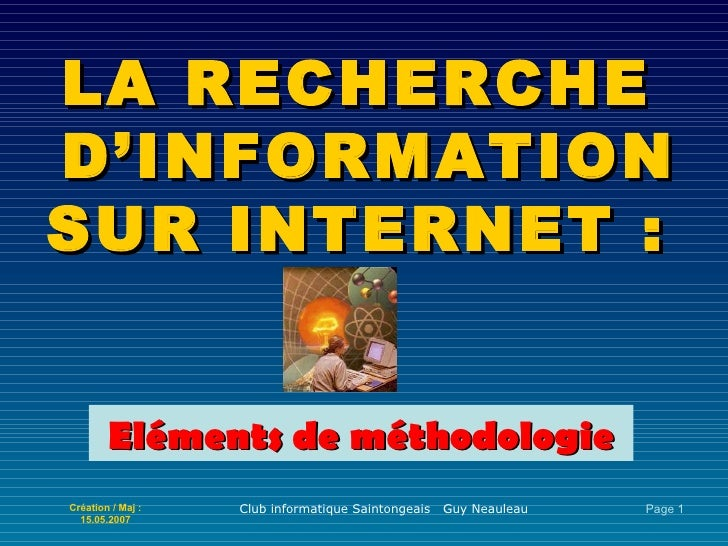 LA RECHERCHE  D'INFORMATION SUR INTERNET : Eléments de méthodologie