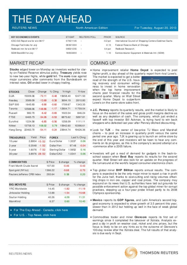 THE DAY AHEAD REUTERS NEWS North American Edition For Tuesday, August 20, 2013 Stocks edged lower on Monday as investors w...
