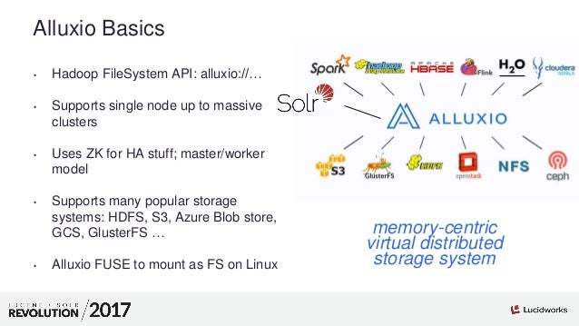 4 01 Alluxio Basics • Hadoop FileSystem API: alluxio://… • Supports single node up to massive clusters • Uses ZK for HA st...
