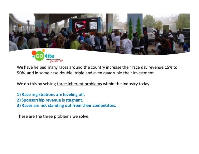 0 We have helped many races around the country increase their race day revenue 15% to  50%, and in some case double, tripl...