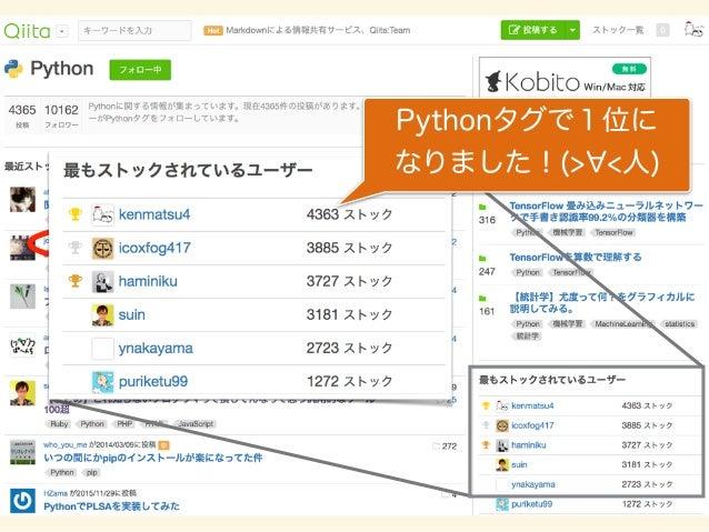 Pythonタグで1位に なりました!(> <人)