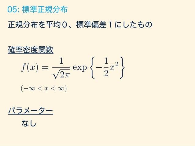 平均を0にずらす n回実施 コイン投げ (表の確率: p) n → 06: カイ二乗分布 平均を0にずらす 標準偏差を1に 縮める 平均を0にずらす k=1のとき 二乗したところ に積んでいく k=3のとき k=3つ サンプリングする k=3つ...