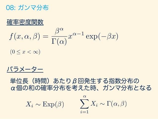 10: 標準一様分布 確率密度関数 パラメーター なし 0から1の間で等確率で発生するような現象を 表す分布 f(x) = ⇢ 1 (0  x  1) 0 (otherwise)