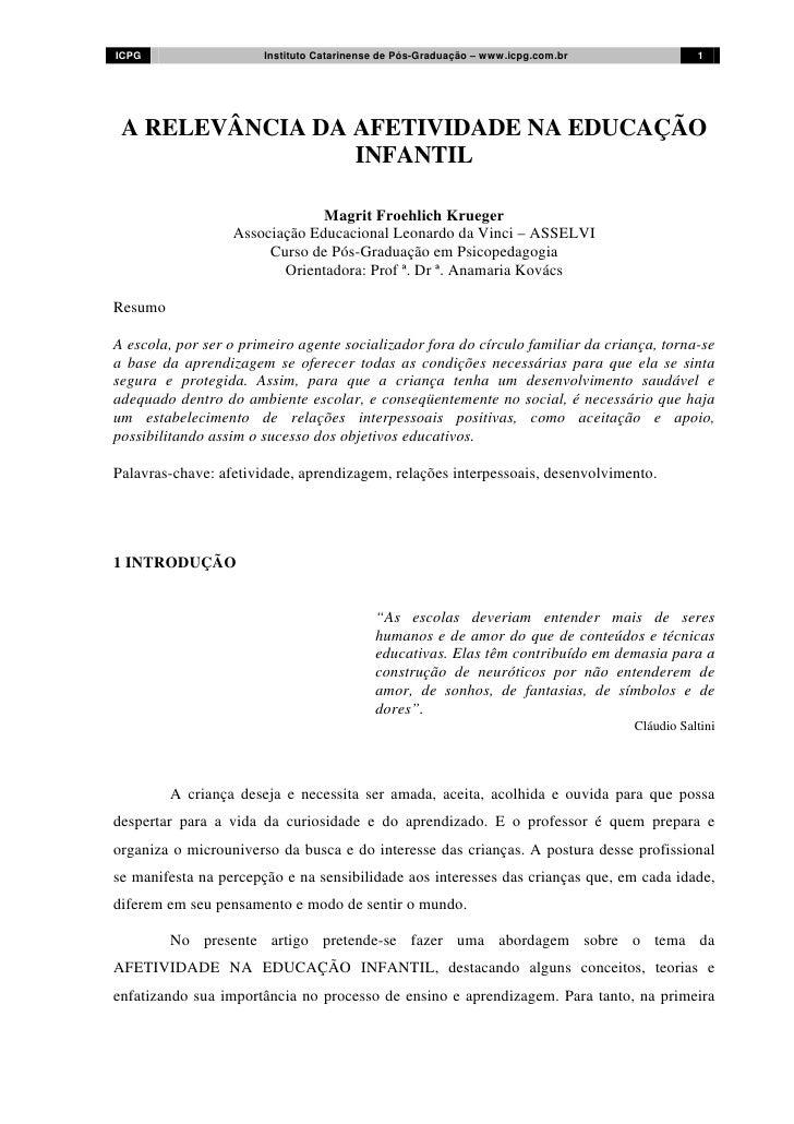 ICPG                   Instituto Catarinense de Pós-Graduação – www.icpg.com.br              1 A RELEVÂNCIA DA AFETIVIDADE...