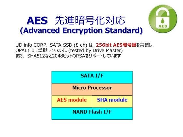 UD info CORP. SATA SSD (8 ch) は、256bit AES暗号鍵を実装し、 OPAL1.0に準拠しています。(tested by Drive Master) また、 SHA512など2048ビットのRSAをサポートして...