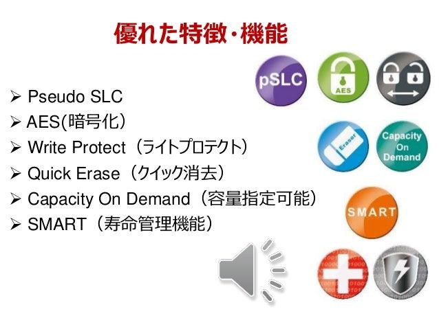 優れた特徴・機能  Pseudo SLC  AES(暗号化)  Write Protect(ライトプロテクト)  Quick Erase(クイック消去)  Capacity On Demand(容量指定可能)  SMART(寿命管理...