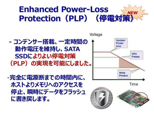 - コンデンサー搭載、一定時間の 動作電圧を維持し、SATA SSDによりよい停電対策 (PLP)の実現を可能にしました。 -完全に電源断までの時間内に、 ホストよりメモリへのアクセスを 停止、瞬時にデータをフラッシュ に書き戻します。 Vol...