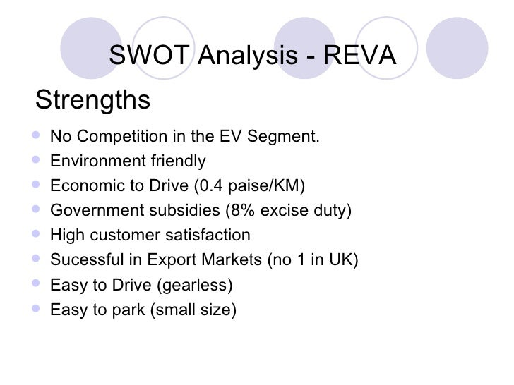 swot of reva cars Electric car and porter's five forces: marketing positioning in the automotive industry 2015-36-0486 this paper determines the market positioning of the electric vehicle, while applying tools like swot analysis, porter's five forces, external environment analysis or the ansoff's matrix.