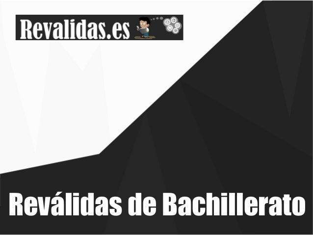 Reválidas de Bachillerato