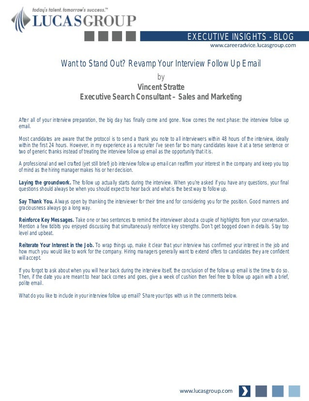 revamp your interview follow up email wwwlucasgroupcom executive insights blog wwwcareeradvicelucasgroupcom - What To Say When Following Up On A Job