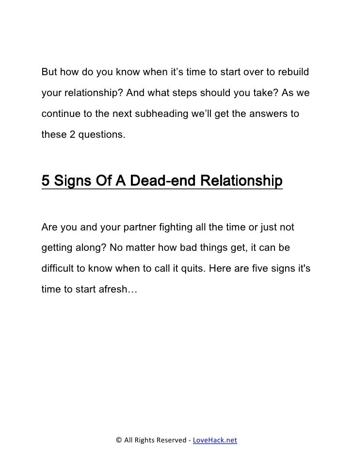How To Recognize To End A Relationship
