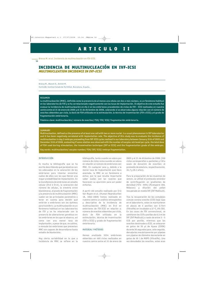 INCIDENCIA DE MULTINUCLEACIÓN EN IVF-ICSI