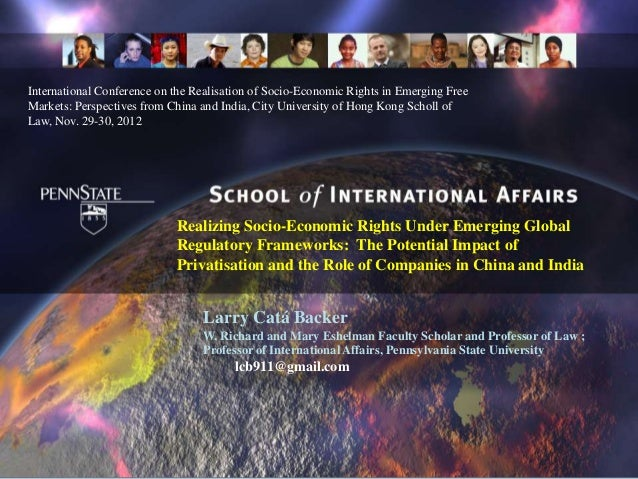 International Conference on the Realisation of Socio-Economic Rights in Emerging FreeMarkets: Perspectives from China and ...