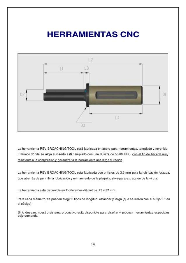 HHEERRRRAAMMIIEENNTTAASS CCNNCC La herramienta REV BROACHING TOOL está fabricada en acero para herramientas, templado y re...