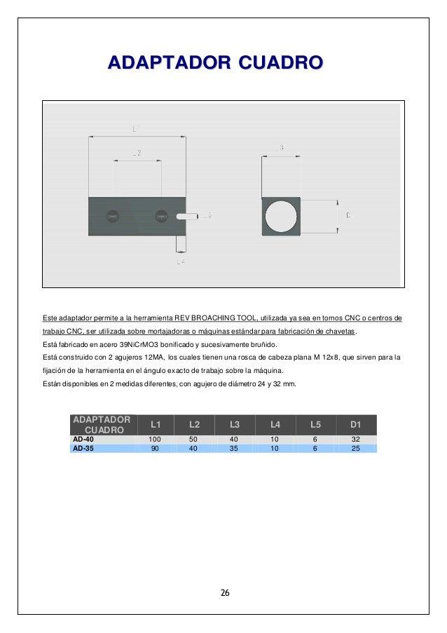 AADDAAPPTTAADDOORR CCUUAADDRROO Este adaptador permite a la herramienta REV BROACHING TOOL, utilizada ya sea en tornos CNC...