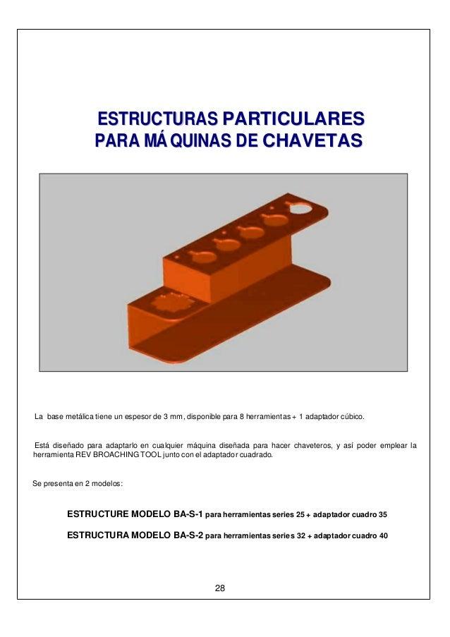 EESSTTRRUUCCTTUURRAASS PPAARRTTIICCUULLAARREESS PPAARRAA MMÁÁ QQUUIINNAASS DDEE CCHHAAVVEETTAASS La base metálica tiene un...