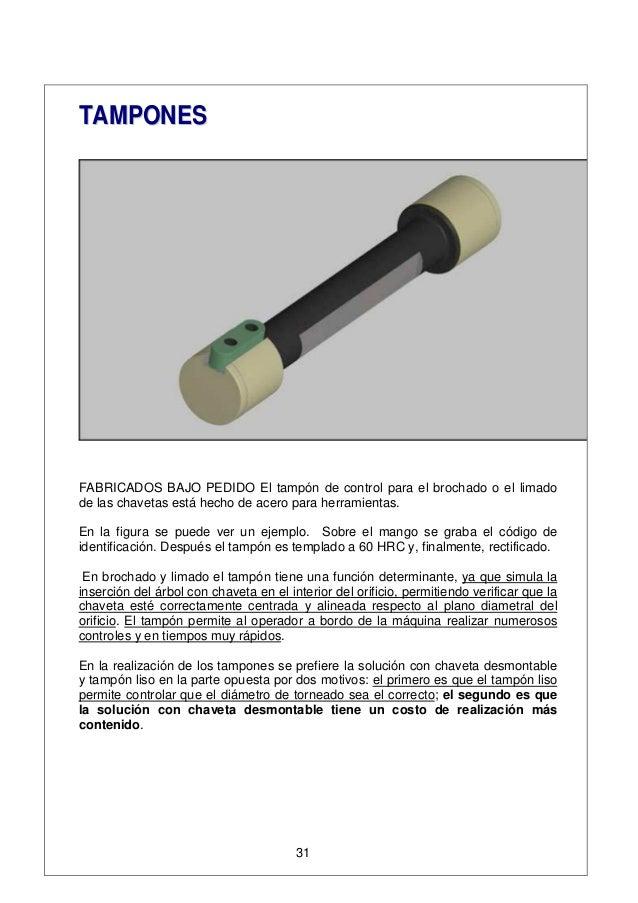 TTAAMMPPOONNEESS FABRICADOS BAJO PEDIDO El tampón de control para el brochado o el limado de las chavetas está hecho de ac...