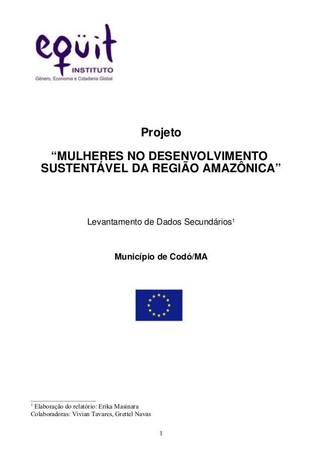 """Projeto """"MULHERES NO DESENVOLVIMENTO SUSTENTÁVEL DA REGIÃO AMAZÔNICA"""" Levantamento de Dados Secundários1 Município de Codó..."""