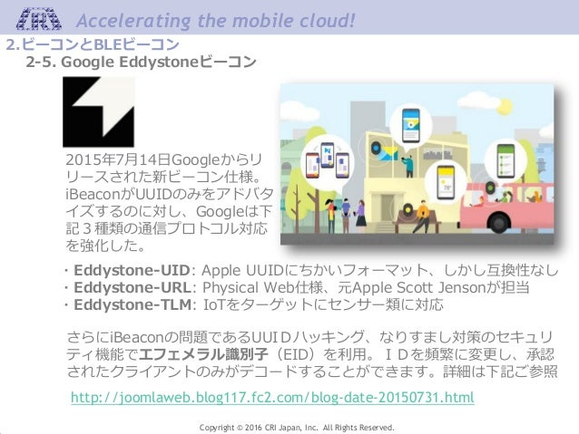 Accelerating the mobile cloud! Copyright © 2016 CRI Japan, Inc. All Rights Reserved. 2.ビーコンとBLEビーコン 2-5. Google Eddystoneビ...