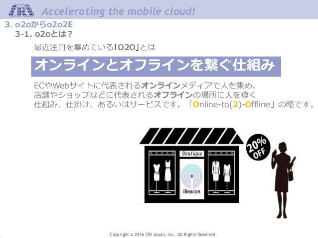 Accelerating the mobile cloud! Copyright © 2016 CRI Japan, Inc. All Rights Reserved. 3. o2oからo2o2E 3-1. o2oとは? 最近注目を集めている「...
