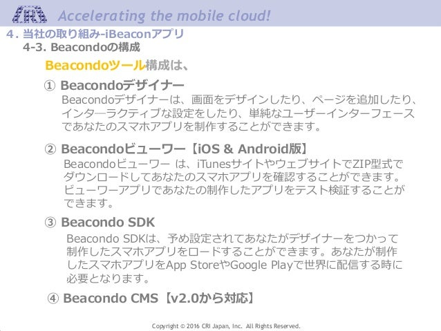 Accelerating the mobile cloud! Copyright © 2016 CRI Japan, Inc. All Rights Reserved. 4. 当社の取り組み-iBeaconアプリ 4-3. Beacondoの構...