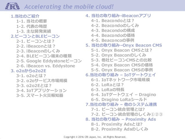 Accelerating the mobile cloud! Copyright © 2016 CRI Japan, Inc. All Rights Reserved. 1.当社のご紹介 1-1. 当社の概要 1-2. 代表の略歴 1-3. 主...