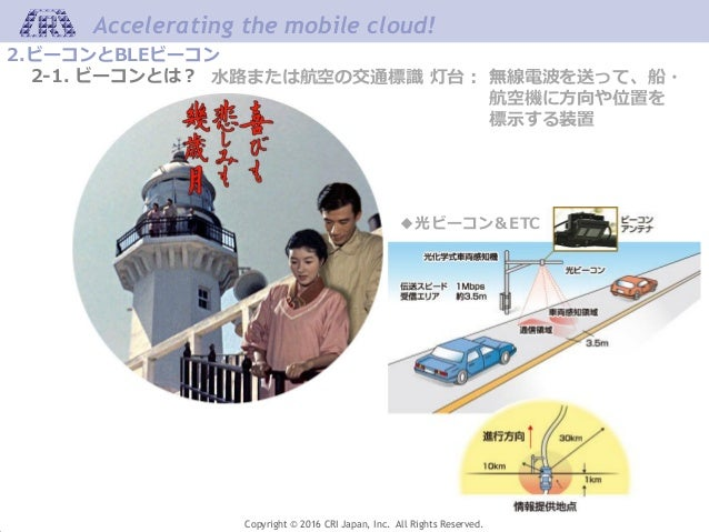 Accelerating the mobile cloud! Copyright © 2016 CRI Japan, Inc. All Rights Reserved. 水路または航空の交通標識 灯台: 無線電波を送って、船・ 航空機に方向や位...