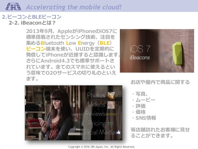 Accelerating the mobile cloud! Copyright © 2016 CRI Japan, Inc. All Rights Reserved. 2.ビーコンとBLEビーコン 2-2. iBeaconとは? お店や屋内で...