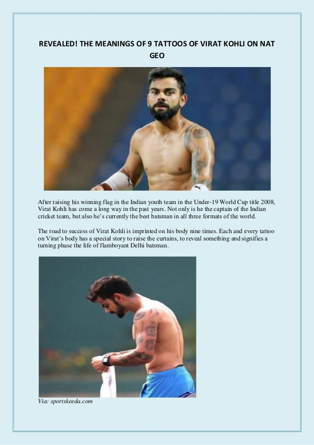 Revealed The Meanings Of 9 Tattoos Of Virat Kohli On Nat Geo
