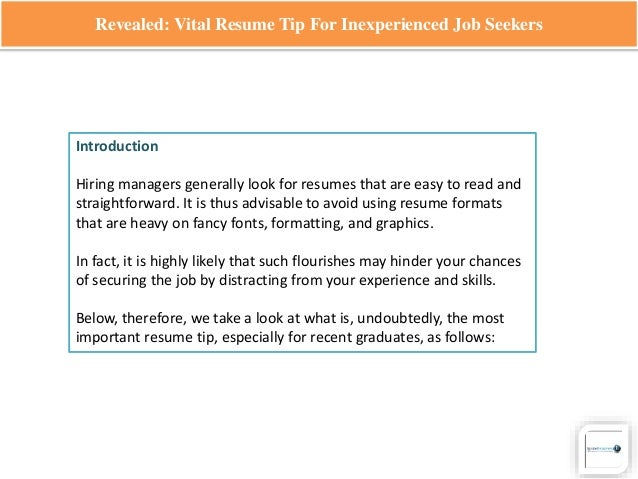revealed vital resume tip for inexperienced job seekers 2