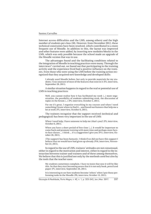 Educação & Realidade, Porto Alegre, v. 42, n. 1, p. 323-343, Jan./Mar. 2017. Santos; Carvalho 337 Internet access difficul...