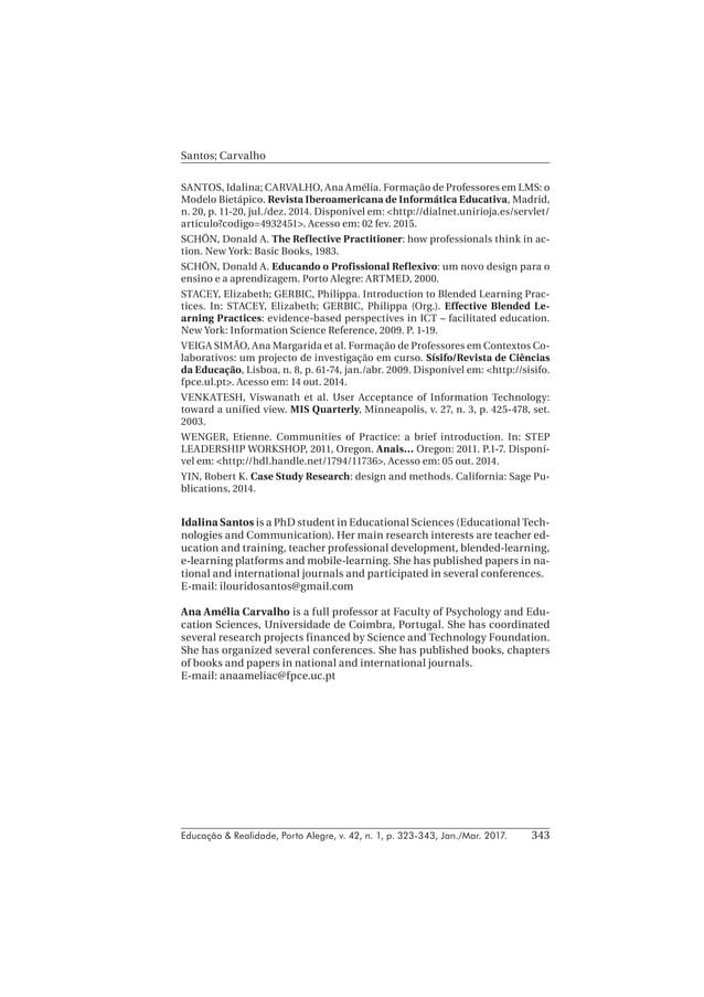 Educação & Realidade, Porto Alegre, v. 42, n. 1, p. 323-343, Jan./Mar. 2017. Santos; Carvalho 343 SANTOS, Idalina; CARVALH...